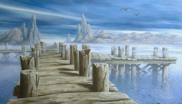 מזח באגם קסום